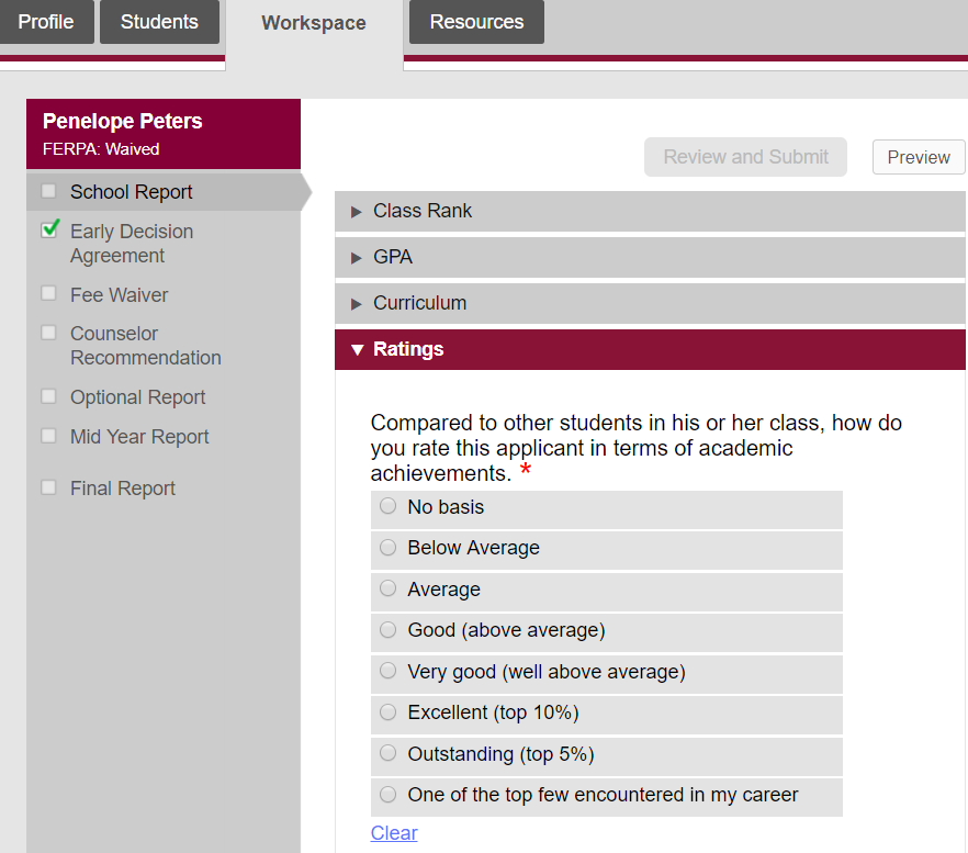 How Do I Complete The Academic Ratings For A Student
